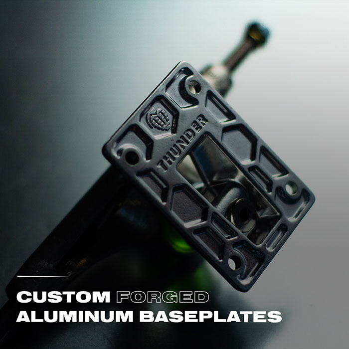 Custom forged aluminum baseplates.